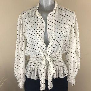 Gracia Fashion Sheer Polka Dot Blouse